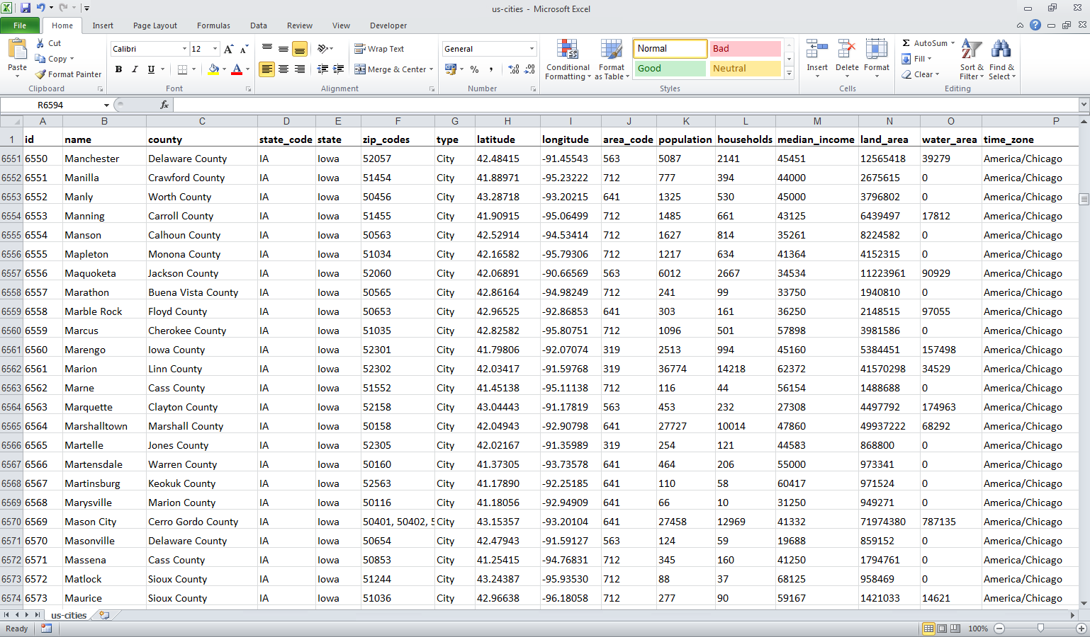 Screenshot Of The Cities List In Excel
